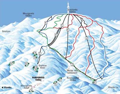 Borovets ski map